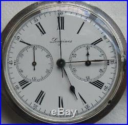 Longines Chronograph Pocket watch silver hunter case enamel dial all original