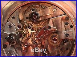Longines Rattrapante Chronograph Pocket watch open face silver case enamel dial