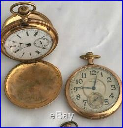 Lot of 10 Vintage Antique Gold Filled Watches & Silver Cases for repair or scrap