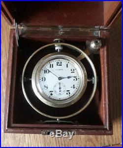 MARINE CHRONOMETER DECK WATCH & CASE, ILLINOIS 21J ABRAHAM LINCOLN WATCH c1913