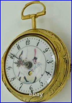 MUSEUM Verge Fusee Calendar gold plated silver REPOUSSE pair case watch. J. Grant