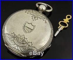 Marion N. J Watch Co Coin Silver Key Wind Hunting Case Pocket Watch Circa 1872