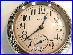 Monster 18SZ Elgin Pocket Watch in Alaska Silver Case. 61.5mm, 17 Jewel, Serviced