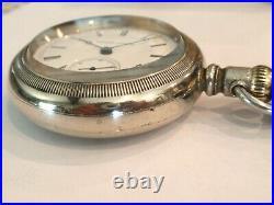 Monster Hampden Pocket Watch in Alaska Silver Case-61.5 MM Serviced 15 Jewel