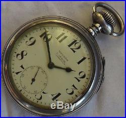 Movado Repeater pocket watch open face silver case enamel dial 55 mm in diameter