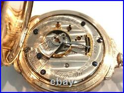 Nice18SZ Elgin Pocket Watch in Gold Filled Boxed Hinge Hunters Case, 15J Serviced
