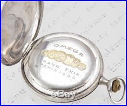 OMEGA Antique Mechanic Watch Pocket Silver Case 900 Grand Prix Paris 1900 Parts
