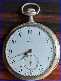 OMEGA Enamel dial pocket watch Silver case