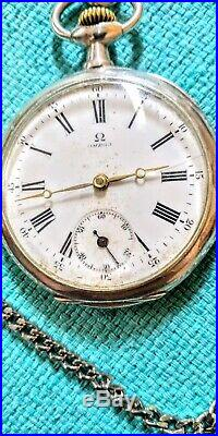 OMEGA, antique pocket watch, sterling silver case, 2 back covers, working