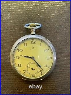 OMEGA pocket watch 15 silver case open face
