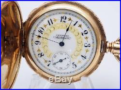Old Antique Running Waltham 6s Pocket Watch 20yr Cresent Double Hunter Case