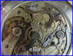 Omega Chronograph Pocket watch open face silver case 54,5 mm. In diameter