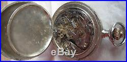 Omega Chronograph pocket watch Silver Case open face 50,5 mm. In diameter