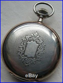 Omega Pocket watch open face silver case enamel dial 49 mm. In diameter