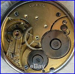 Omega Rare Coin Pocket watch silver case & dial recent service work Ok