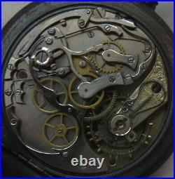 Omega chronograph Pocket watch open face gun case 53,5 mm. In diameter