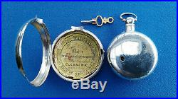 PAIR CASED HALF HUNTER VERGE FUSEE POCKET WATCH London 1832 SERVICED