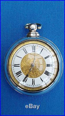 Pair Cased Pocket Watch Verge Fusee London 1869 Montre Coq Spindeluhr