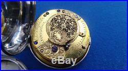 Pair Cased Pocket Watch Verge Fusee Painted Dial Montre Coq Spindeluhr