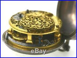 Pair Cased Silver Verge Fusee Pocket Watch Circa 1750 Chas. Bilfield London RUNS