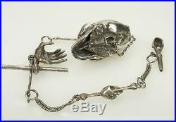 RAR Silver Memento Mori Chain Skull case Pocket Watch Key masonic Fob sterling