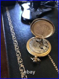 RARE Antique Hallmarked Gold Longines Memento Mori Pocket Watch with FREE Case