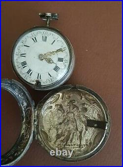 RARE J JOHNSON LONDON 1760 verge silver pocket watch with Repousse Silver Case