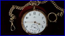 RARE Omega Grand Prix 1900 14k Solid Gold Pocket Watch with Original Case & Chain