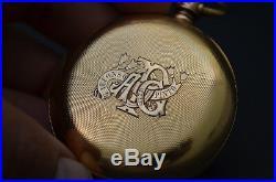RARE WALTHAM RIVERSIDE CHRONOGRAPH POCKET WATCH 51mm 18KT GOLD CASE c. 1880