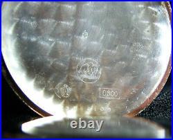 REVUE Gedeon Thommen Antique Large Pocket Watch Silver Case Porcelain Dial