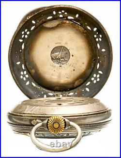 Rare Antique Cricket Alarm Pocket Watch Silver Heavily Embossed Case CA1900