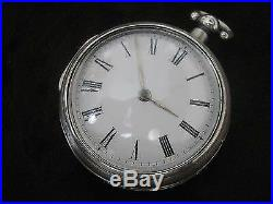 Rare Antique PALMER CLARE Verge Fusee Pair Case Open Face Silver Pocket Watch