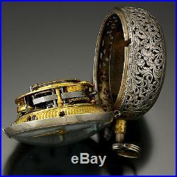 Rare Antique Quarter Hour Repeater Pocket Watch Repousse Silver Pair Case Jodin