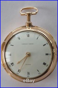 Rare Antique Solid Gold Quarter Repeater Pair Case Verge Fusee Pocket Watch