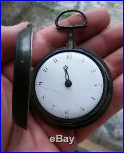 Rare Antique Verge Fusee Pair Case Silver English Pocket Watch Matin London 1802