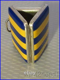 Rare BOREL FILS & CIE STERLING PURSE WATCH pocket blue/gold striped enamel case