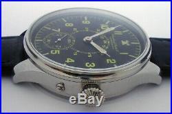 Rare Big Military IWC Schaffhausen Swiss Watch Steel Case Aviator Pilots WW2