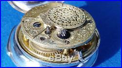 Rare Pair Case Verge Fusee Pocket Watch Birmingham 1804 Montre Coq Spindeluhr