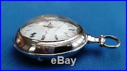 Rare Pair Case Verge Fusee Pocket Watch + Date Function Montre Coq Spindeluhr