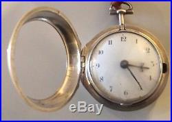Rare Watch Silver Pair Case Verge Fusee Working Square Pillars Key C1757