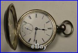 Running No Key Elgin G. M. Wheeler Model 1 11 jewel 18s Coin Silver Case