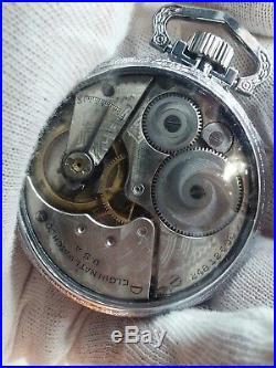 Runs and Stop ELGIN PARTS REPAIR. Mens 16s Antique Pocket Watch Display Case