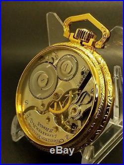 STUNNING. HAMILTON 974. Men's 16s Pocket Watch MINT Display Case. SERVICED