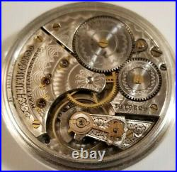 Scarce Waltham 16S. 11J. Adj. Fancy dial gold trimmed movement coin silver case