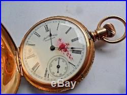 Sharp SOLID 14k Gold Antique 1888 Waltham Seaside Hunter's Case Pocket Watch