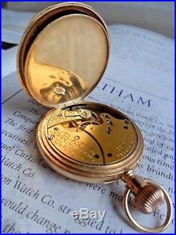 Sharp SOLID 14k Gold Antique 1892 Waltham Hunter's Case Pocket Watch Runs