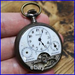Silver Cased Hebdomas Calendar Pocket Watch for Parts or Repair (F101)
