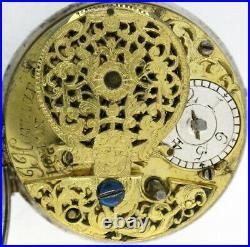 Silver pair cased verge pocket watch London, c1730