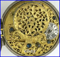Silver pocket watch, pair cases, verge Henry Perry, London, c1700