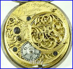 Small Antique Silver Pair Cased Verge Pocket Watch signed Geo Taylor London 1782